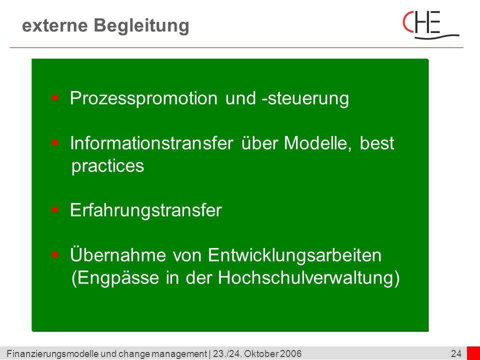 24Finanzierungsmodelle und change management | 23./24. Oktober 2006 externe Begleitung Prozesspromotion und -steuerung Informationstransfer über Model