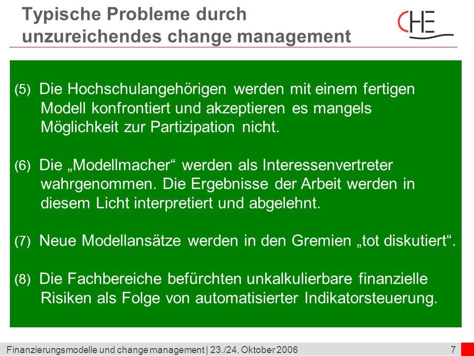 7Finanzierungsmodelle und change management | 23./24. Oktober 2006 Typische Probleme durch unzureichendes change management (5) Die Hochschulangehörig