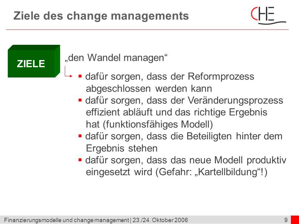 9Finanzierungsmodelle und change management | 23./24. Oktober 2006 Ziele des change managements ZIELE den Wandel managen dafür sorgen, dass der Reform