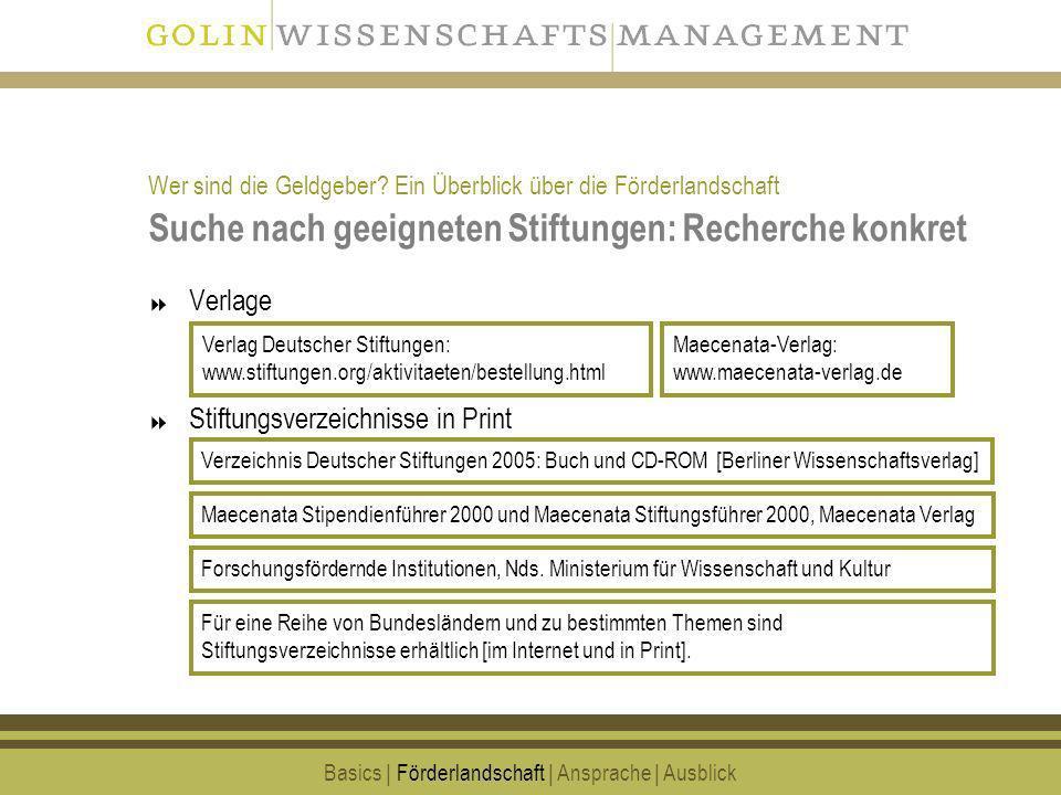 11 Suche nach geeigneten Stiftungen: Recherche konkret Verlage Stiftungsverzeichnisse in Print Basics | Förderlandschaft | Ansprache | Ausblick Verzei