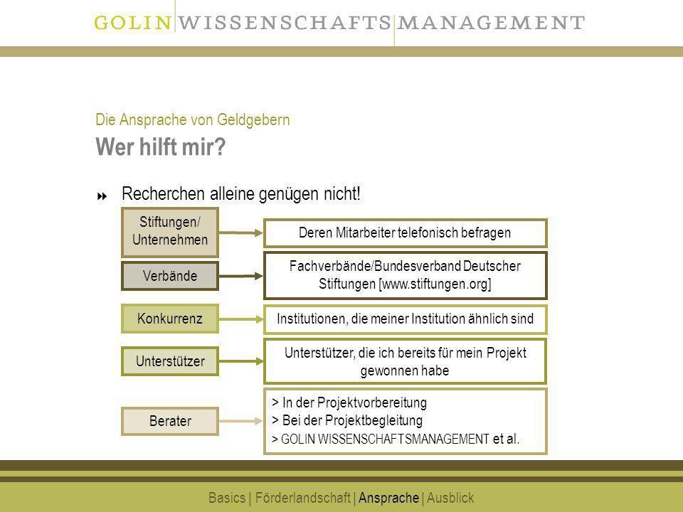17 Wer hilft mir? Recherchen alleine genügen nicht! Basics | Förderlandschaft | Ansprache | Ausblick Fachverbände/Bundesverband Deutscher Stiftungen [