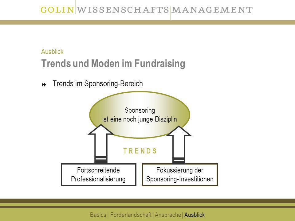 21 Trends und Moden im Fundraising Trends im Sponsoring-Bereich Basics | Förderlandschaft | Ansprache | Ausblick Fokussierung der Sponsoring-Investiti