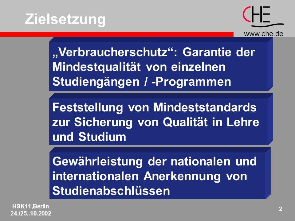 www.che.de HSK11,Berlin 24./25..10.2002 2 Gewährleistung der nationalen und internationalen Anerkennung von Studienabschlüssen Verbraucherschutz: Garantie der Mindestqualität von einzelnen Studiengängen / -Programmen Zielsetzung Feststellung von Mindeststandards zur Sicherung von Qualität in Lehre und Studium