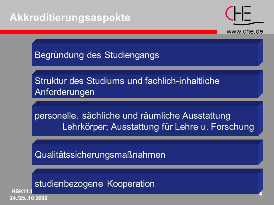 www.che.de HSK11,Berlin 24./25..10.2002 4 Akkreditierungsaspekte Begründung des Studiengangs Struktur des Studiums und fachlich-inhaltliche Anforderun