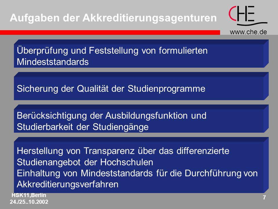 www.che.de HSK11,Berlin 24./25..10.2002 7 Aufgaben der Akkreditierungsagenturen Überprüfung und Feststellung von formulierten Mindeststandards Sicheru