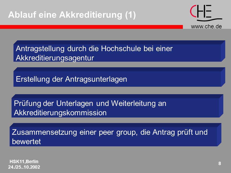 www.che.de HSK11,Berlin 24./25..10.2002 8 Ablauf eine Akkreditierung (1) Antragstellung durch die Hochschule bei einer Akkreditierungsagentur Erstellung der Antragsunterlagen Prüfung der Unterlagen und Weiterleitung an Akkreditierungskommission Zusammensetzung einer peer group, die Antrag prüft und bewertet