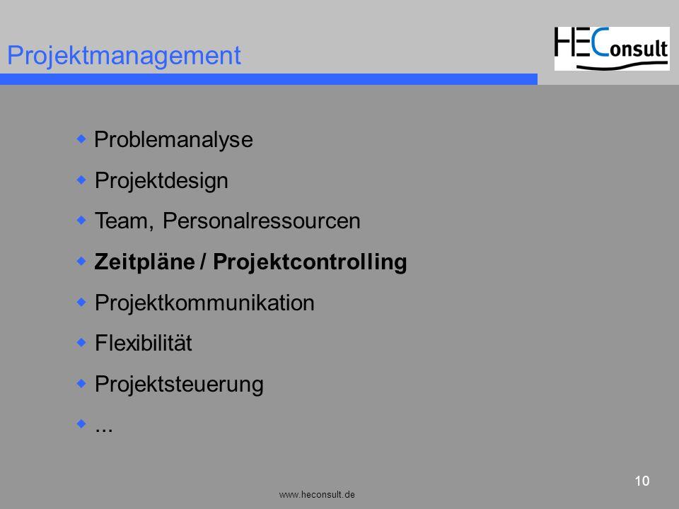 www.heconsult.de 10 Projektmanagement Problemanalyse Projektdesign Team, Personalressourcen Zeitpläne / Projektcontrolling Projektkommunikation Flexib