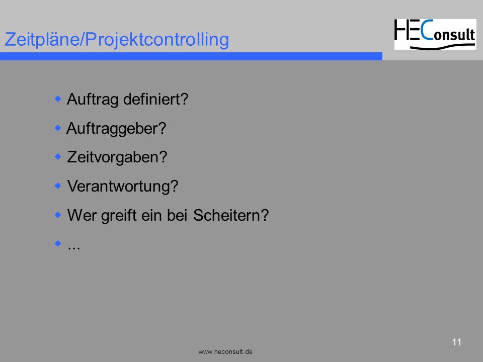 www.heconsult.de 11 Zeitpläne/Projektcontrolling Auftrag definiert? Auftraggeber? Zeitvorgaben? Verantwortung? Wer greift ein bei Scheitern?...
