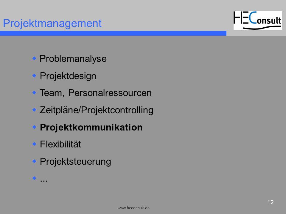 www.heconsult.de 12 Projektmanagement Problemanalyse Projektdesign Team, Personalressourcen Zeitpläne/Projektcontrolling Projektkommunikation Flexibil