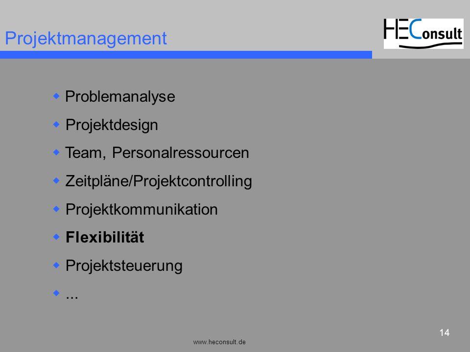 www.heconsult.de 14 Projektmanagement Problemanalyse Projektdesign Team, Personalressourcen Zeitpläne/Projektcontrolling Projektkommunikation Flexibil