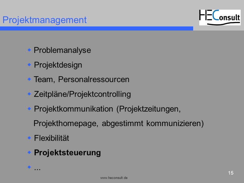 www.heconsult.de 15 Projektmanagement Problemanalyse Projektdesign Team, Personalressourcen Zeitpläne/Projektcontrolling Projektkommunikation (Projekt