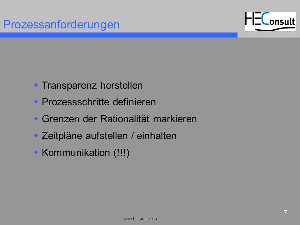 www.heconsult.de 7 Prozessanforderungen Transparenz herstellen Prozessschritte definieren Grenzen der Rationalität markieren Zeitpläne aufstellen / ei