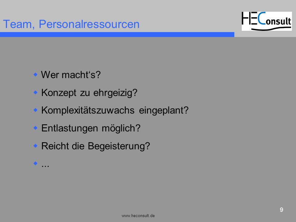 www.heconsult.de 9 Team, Personalressourcen Wer machts? Konzept zu ehrgeizig? Komplexitätszuwachs eingeplant? Entlastungen möglich? Reicht die Begeist
