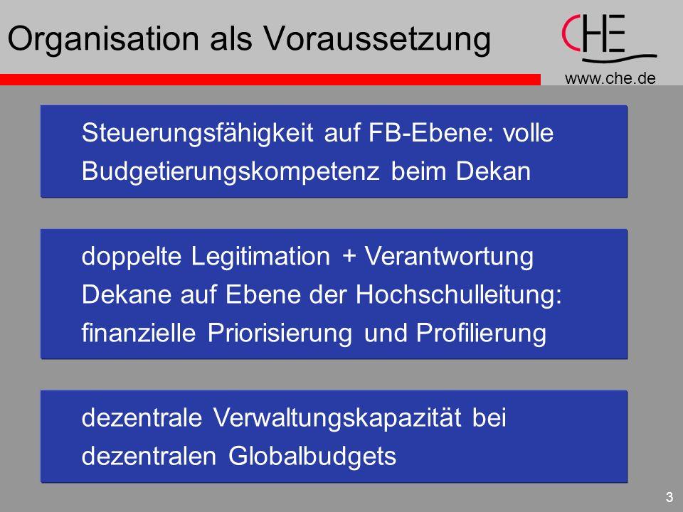 www.che.de 3 Organisation als Voraussetzung Steuerungsfähigkeit auf FB-Ebene: volle Budgetierungskompetenz beim Dekan doppelte Legitimation + Verantwortung Dekane auf Ebene der Hochschulleitung: finanzielle Priorisierung und Profilierung dezentrale Verwaltungskapazität bei dezentralen Globalbudgets
