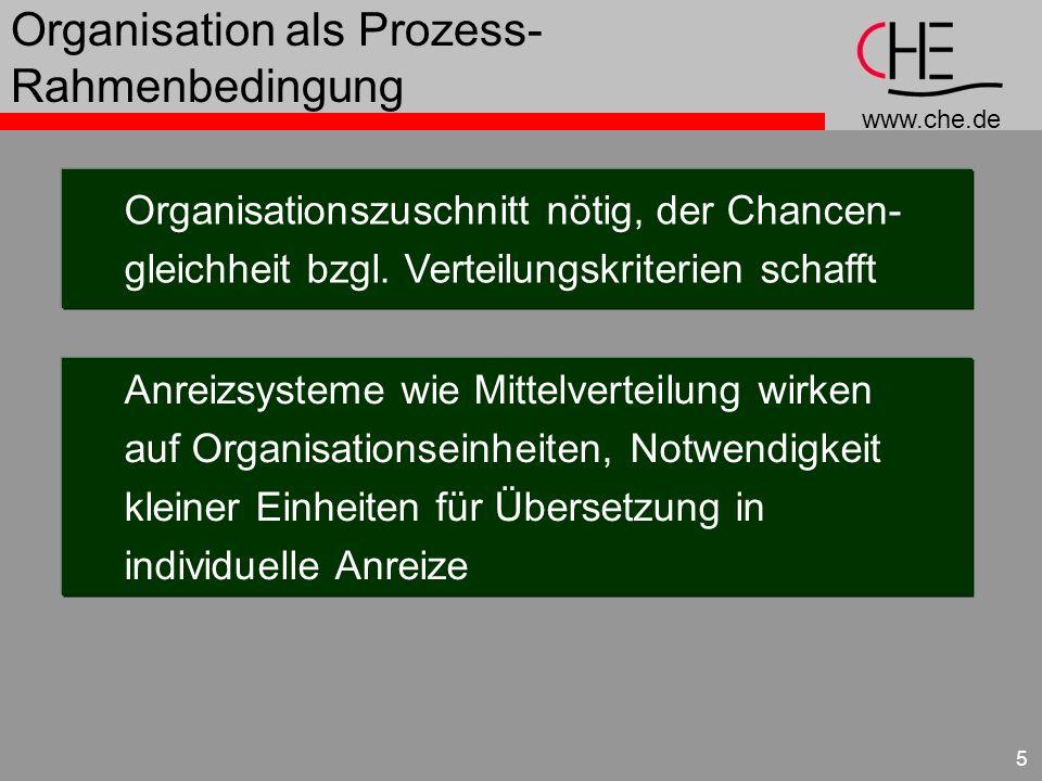 www.che.de 5 Organisation als Prozess- Rahmenbedingung Organisationszuschnitt nötig, der Chancen- gleichheit bzgl.