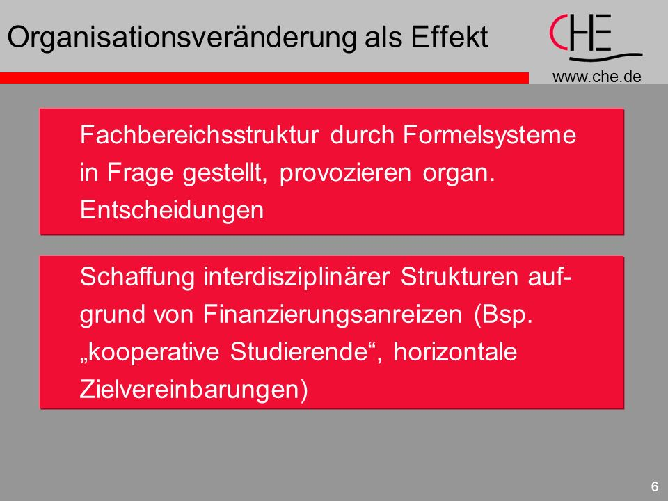 www.che.de 6 Organisationsveränderung als Effekt Fachbereichsstruktur durch Formelsysteme in Frage gestellt, provozieren organ.
