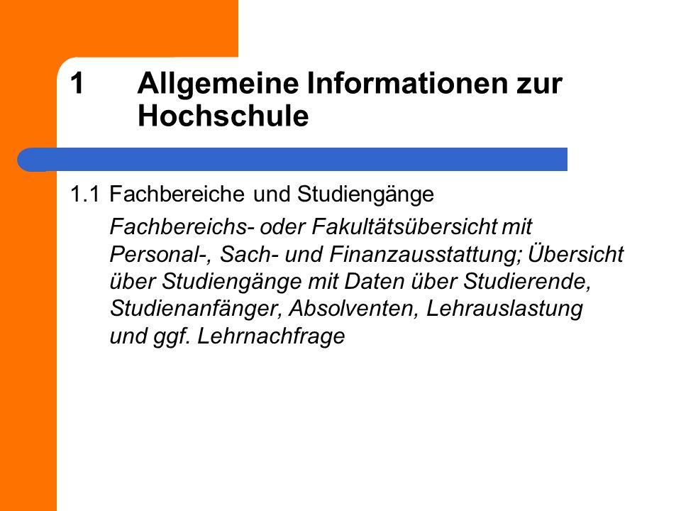 1Allgemeine Informationen zur Hochschule 1.1Fachbereiche und Studiengänge Fachbereichs- oder Fakultätsübersicht mit Personal-, Sach- und Finanzausstat