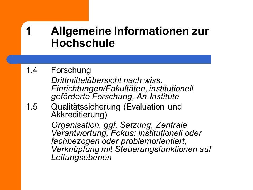 1Allgemeine Informationen zur Hochschule 1.4Forschung Drittmittelübersicht nach wiss.