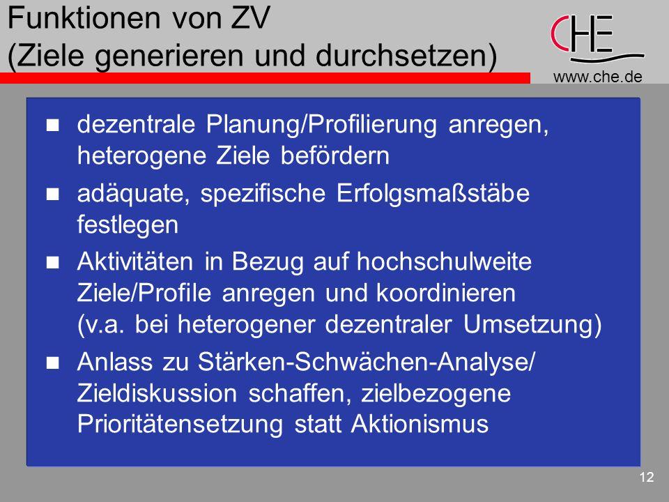 www.che.de 12 Funktionen von ZV (Ziele generieren und durchsetzen) n dezentrale Planung/Profilierung anregen, heterogene Ziele befördern n adäquate, s