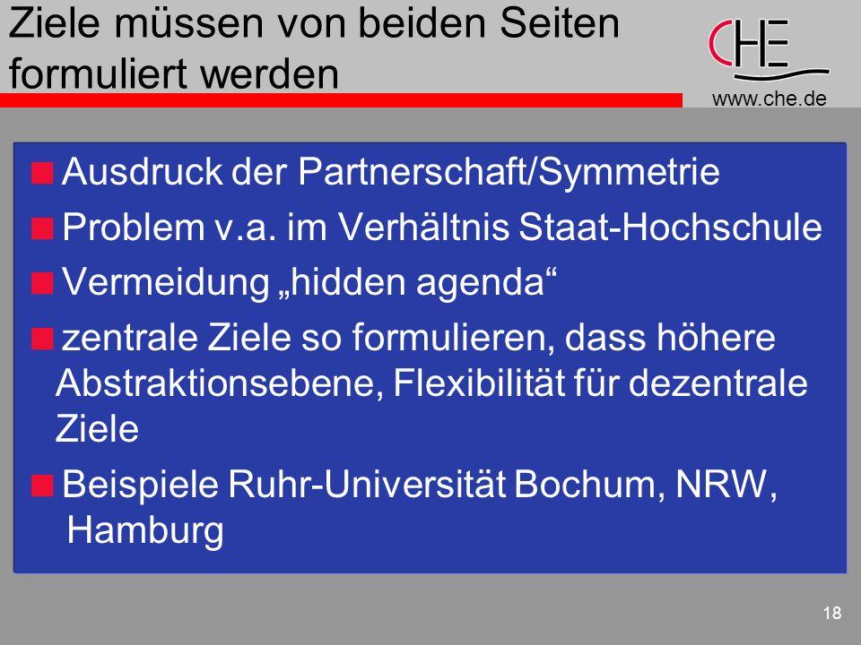www.che.de 18 Ziele müssen von beiden Seiten formuliert werden Ausdruck der Partnerschaft/Symmetrie Problem v.a. im Verhältnis Staat-Hochschule Vermei
