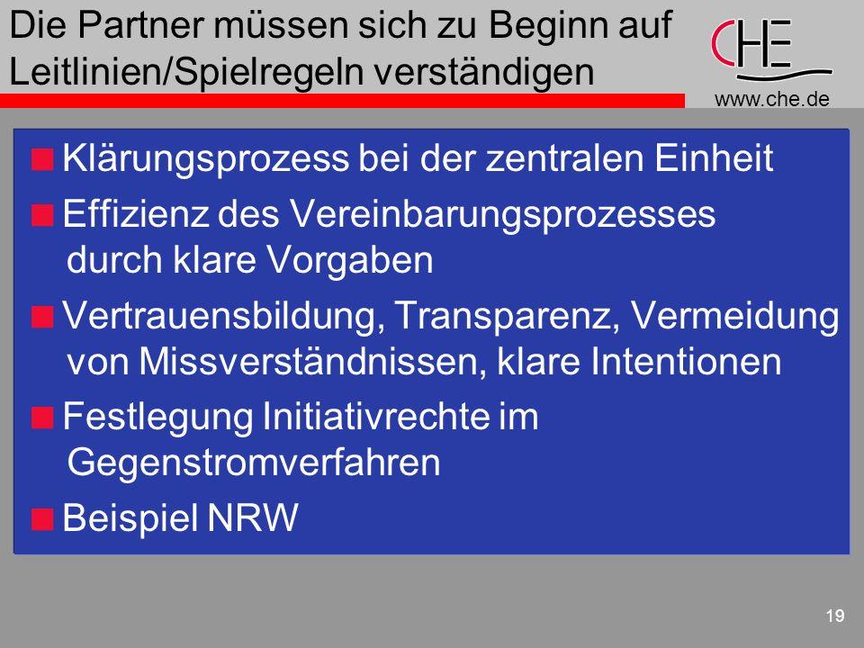 www.che.de 19 Die Partner müssen sich zu Beginn auf Leitlinien/Spielregeln verständigen Klärungsprozess bei der zentralen Einheit Effizienz des Verein