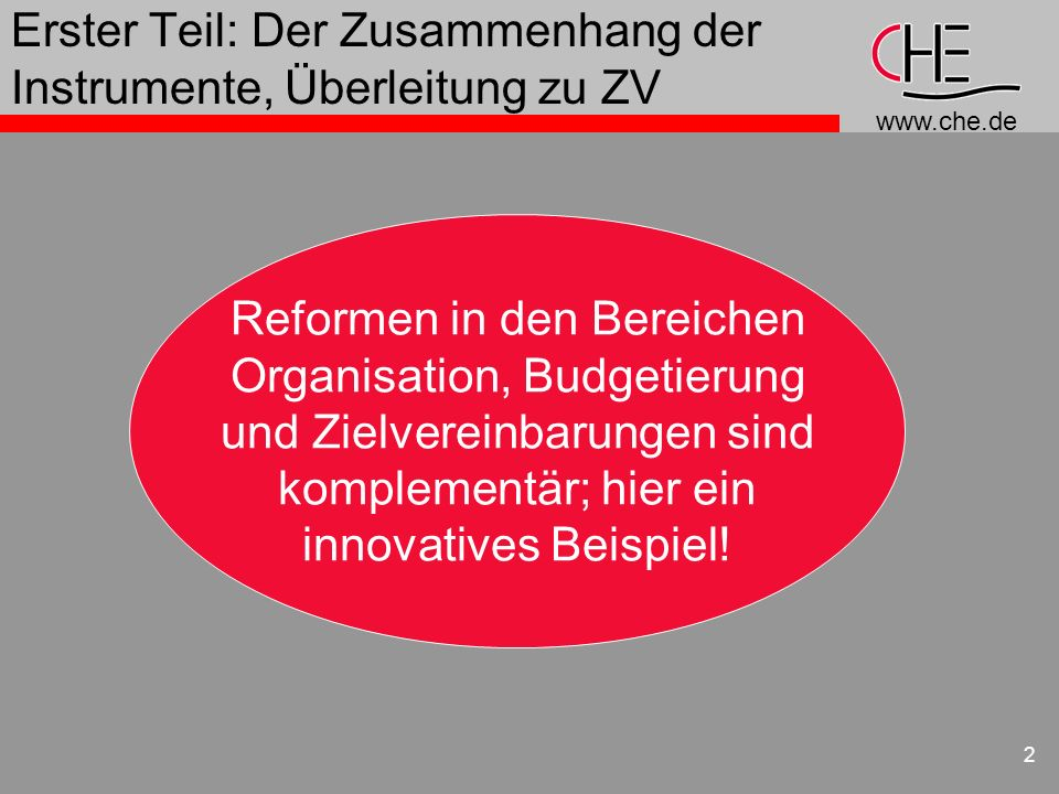 www.che.de 2 Erster Teil: Der Zusammenhang der Instrumente, Überleitung zu ZV Reformen in den Bereichen Organisation, Budgetierung und Zielvereinbarun