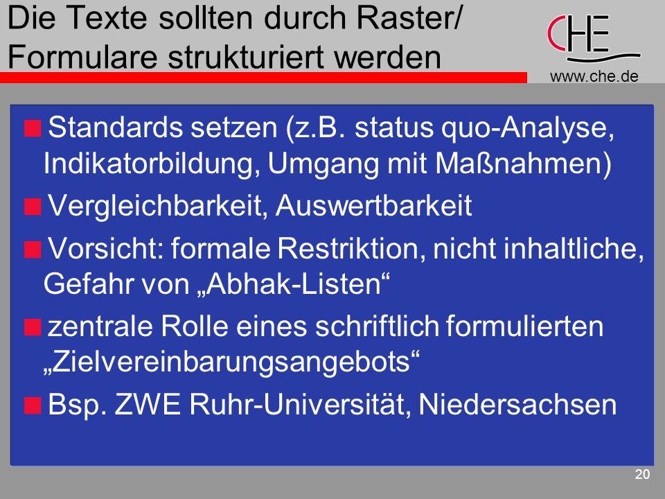 www.che.de 20 Die Texte sollten durch Raster/ Formulare strukturiert werden Standards setzen (z.B. status quo-Analyse, Indikatorbildung, Umgang mit Ma