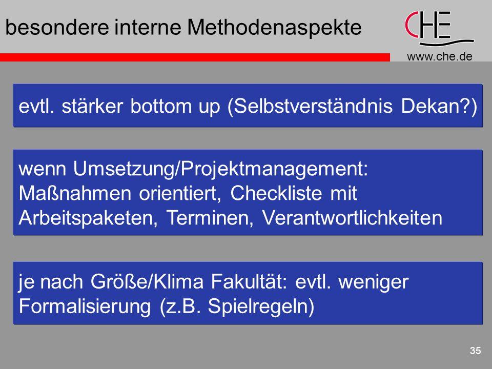 www.che.de 35 besondere interne Methodenaspekte evtl. stärker bottom up (Selbstverständnis Dekan?) wenn Umsetzung/Projektmanagement: Maßnahmen orienti