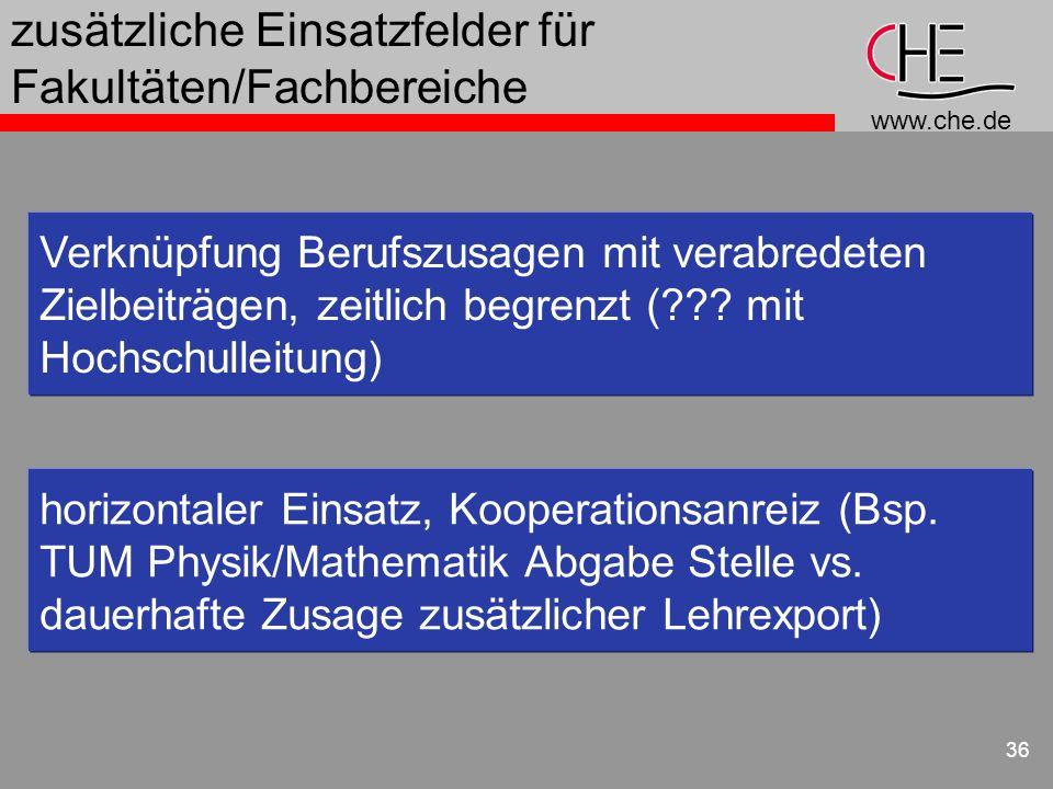 www.che.de 36 zusätzliche Einsatzfelder für Fakultäten/Fachbereiche Verknüpfung Berufszusagen mit verabredeten Zielbeiträgen, zeitlich begrenzt (??? m