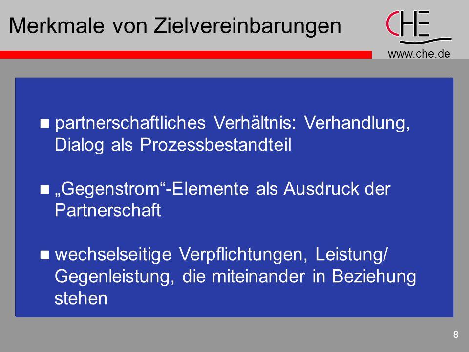 www.che.de 8 Merkmale von Zielvereinbarungen n partnerschaftliches Verhältnis: Verhandlung, Dialog als Prozessbestandteil n Gegenstrom-Elemente als Au
