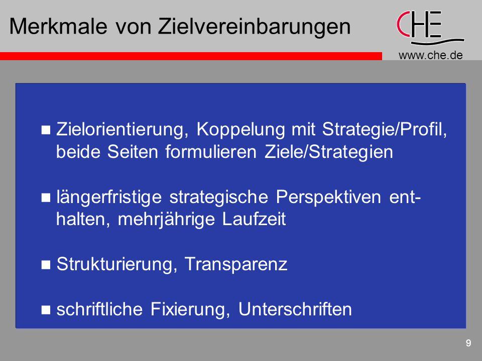 www.che.de 9 Merkmale von Zielvereinbarungen n Zielorientierung, Koppelung mit Strategie/Profil, beide Seiten formulieren Ziele/Strategien n längerfri