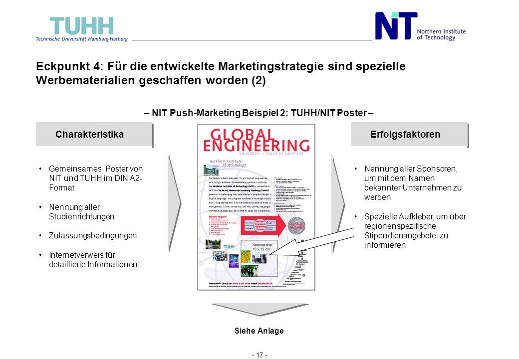 - 16 - Eckpunkt 4: Für die entwickelte Marketingstrategie sind spezielle Werbe- materialien geschaffen worden Charakteristika Gemeinsamer Flyer von TU