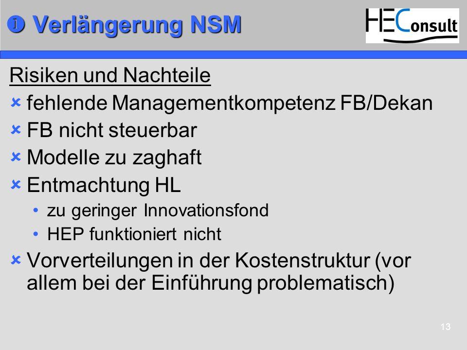 13 Verlängerung NSM Verlängerung NSM Risiken und Nachteile fehlende Managementkompetenz FB/Dekan FB nicht steuerbar Modelle zu zaghaft Entmachtung HL