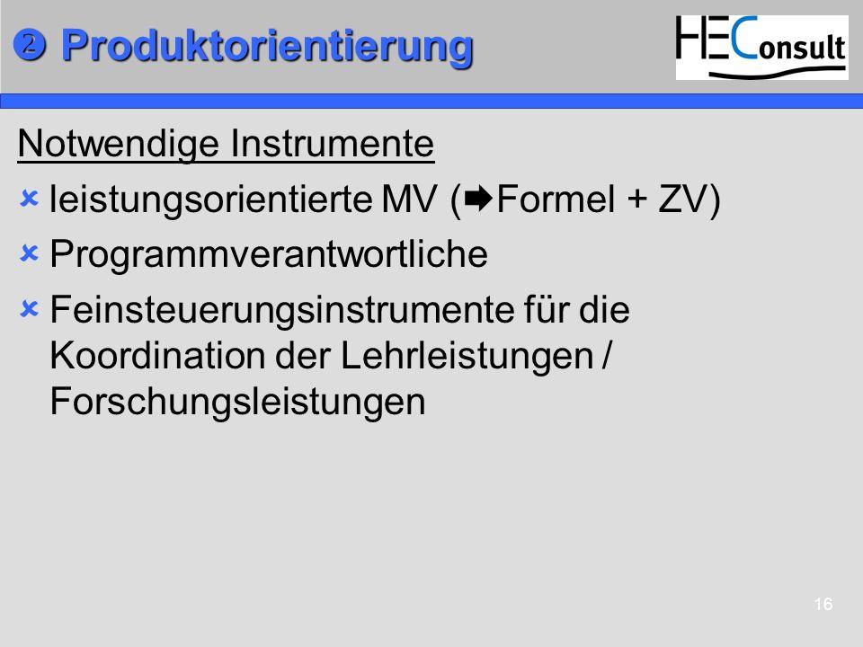 16 Produktorientierung Produktorientierung Notwendige Instrumente leistungsorientierte MV ( Formel + ZV) Programmverantwortliche Feinsteuerungsinstrum