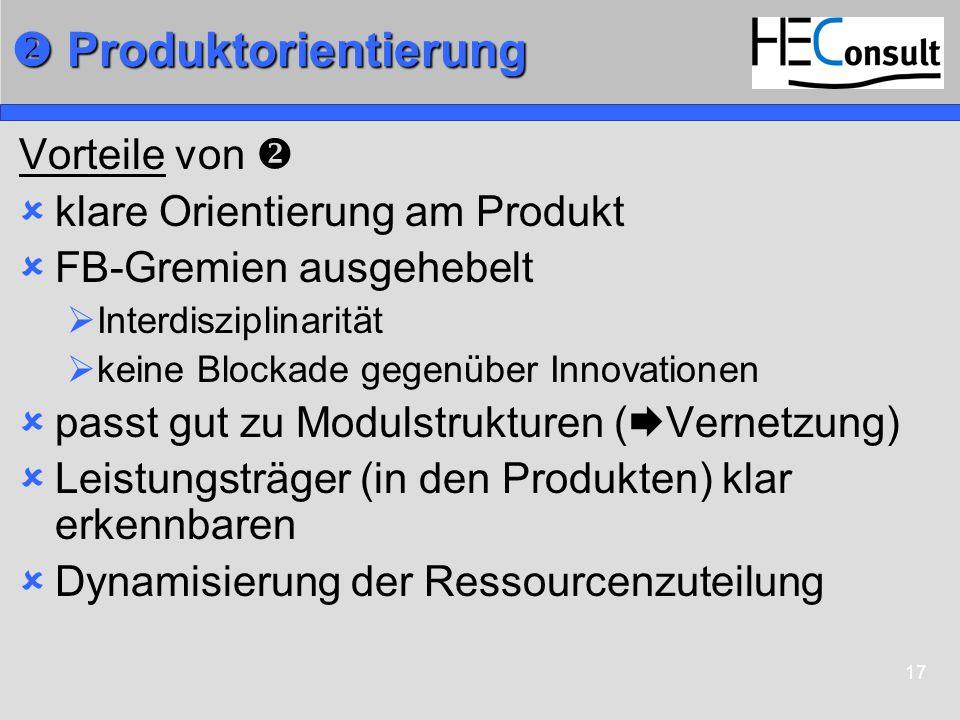 17 Produktorientierung Produktorientierung Vorteile von klare Orientierung am Produkt FB-Gremien ausgehebelt Interdisziplinarität keine Blockade gegen