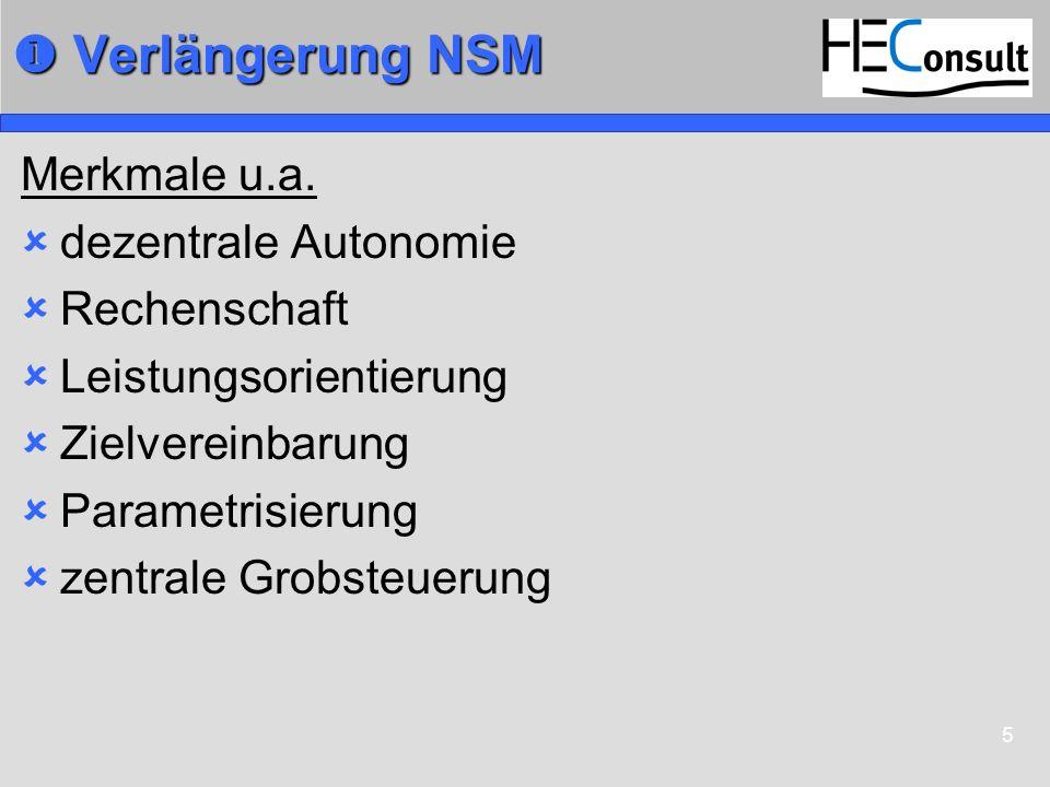 5 Verlängerung NSM Verlängerung NSM Merkmale u.a. dezentrale Autonomie Rechenschaft Leistungsorientierung Zielvereinbarung Parametrisierung zentrale G