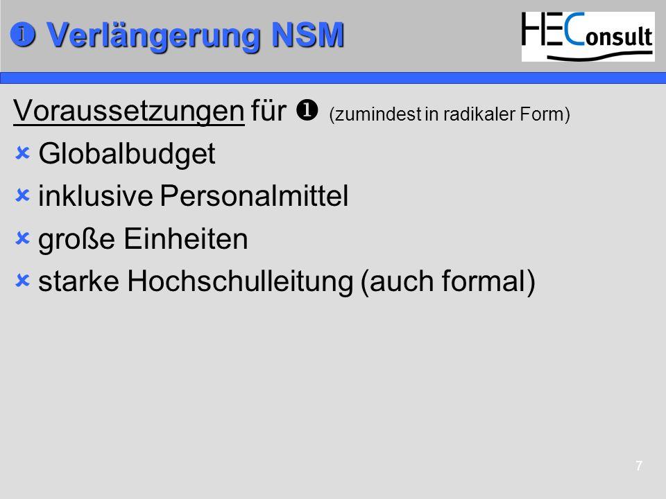 7 Verlängerung NSM Verlängerung NSM Voraussetzungen für (zumindest in radikaler Form) Globalbudget inklusive Personalmittel große Einheiten starke Hoc