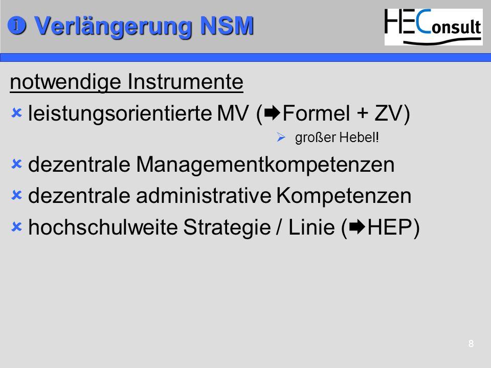 8 Verlängerung NSM Verlängerung NSM notwendige Instrumente leistungsorientierte MV ( Formel + ZV) großer Hebel! dezentrale Managementkompetenzen dezen