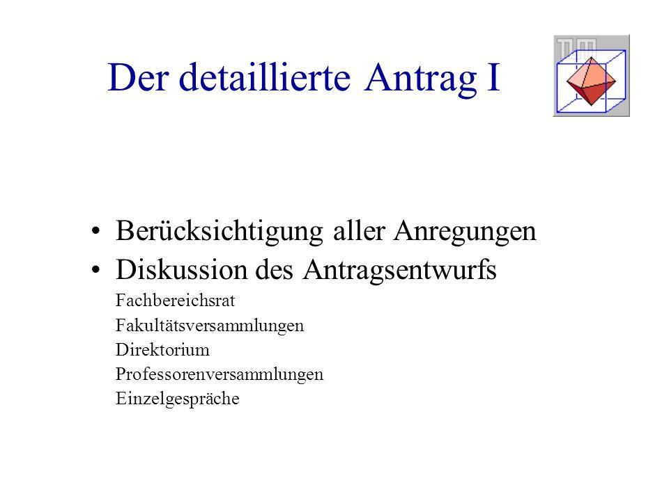 Der detaillierte Antrag I Berücksichtigung aller Anregungen Diskussion des Antragsentwurfs Fachbereichsrat Fakultätsversammlungen Direktorium Professo