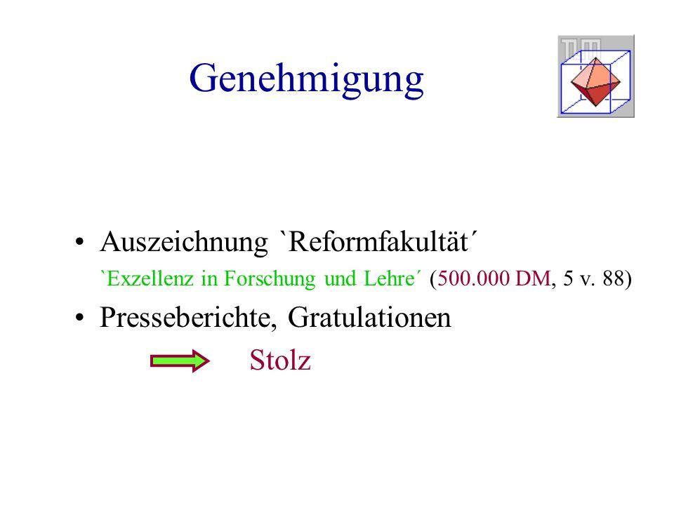 Genehmigung Auszeichnung `Reformfakultät´ `Exzellenz in Forschung und Lehre´ (500.000 DM, 5 v. 88) Presseberichte, Gratulationen Stolz