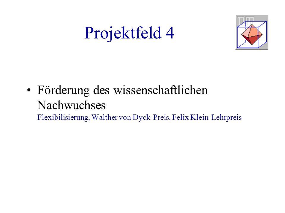 Projektfeld 4 Förderung des wissenschaftlichen Nachwuchses Flexibilisierung, Walther von Dyck-Preis, Felix Klein-Lehrpreis