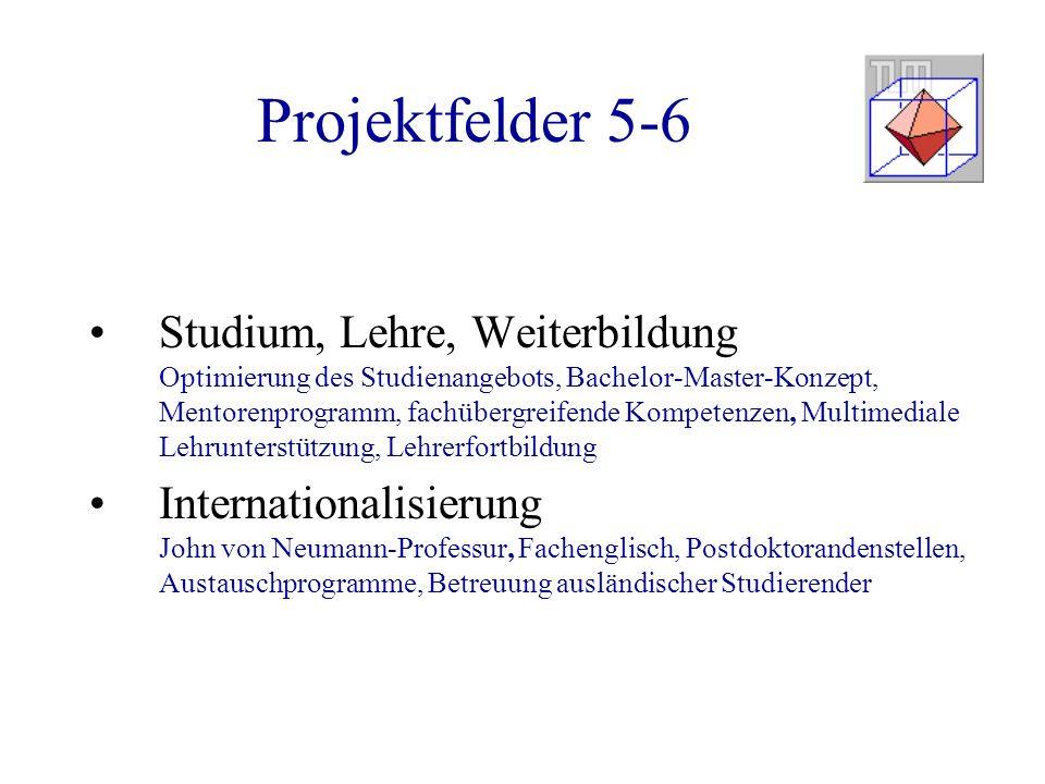 Projektfelder 5-6 Studium, Lehre, Weiterbildung Optimierung des Studienangebots, Bachelor-Master-Konzept, Mentorenprogramm, fachübergreifende Kompeten