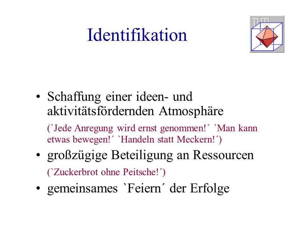 Identifikation Schaffung einer ideen- und aktivitätsfördernden Atmosphäre (`Jede Anregung wird ernst genommen!´ `Man kann etwas bewegen!´ `Handeln sta