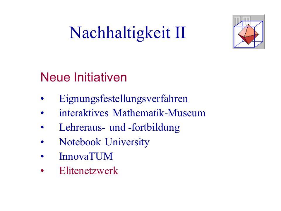 Nachhaltigkeit II Neue Initiativen Eignungsfestellungsverfahren interaktives Mathematik-Museum Lehreraus- und -fortbildung Notebook University InnovaT