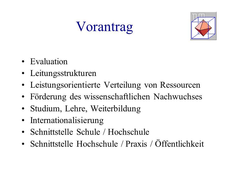 Vorantrag Evaluation Leitungsstrukturen Leistungsorientierte Verteilung von Ressourcen Förderung des wissenschaftlichen Nachwuchses Studium, Lehre, We