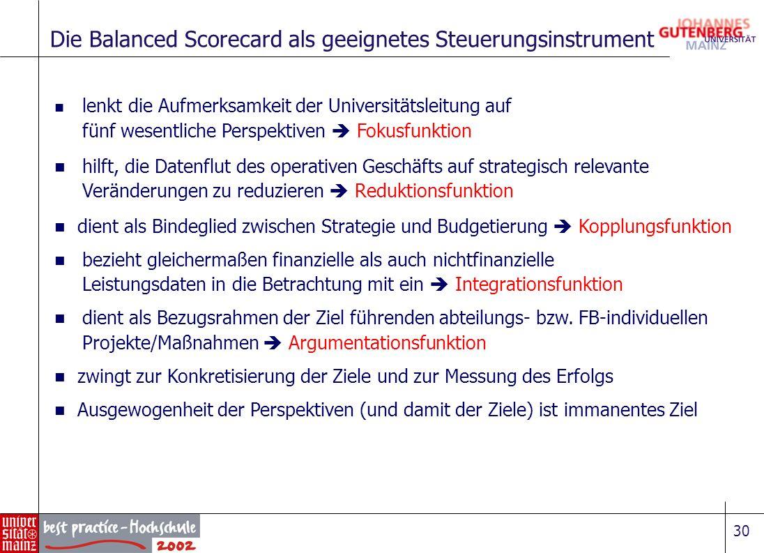 30 Die Balanced Scorecard als geeignetes Steuerungsinstrument lenkt die Aufmerksamkeit der Universitätsleitung auf fünf wesentliche Perspektiven Fokus