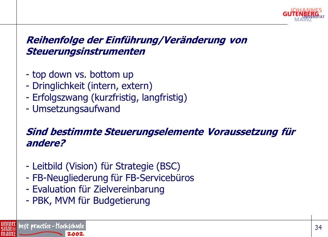 34 Reihenfolge der Einführung/Veränderung von Steuerungsinstrumenten - top down vs. bottom up - Dringlichkeit (intern, extern) - Erfolgszwang (kurzfri