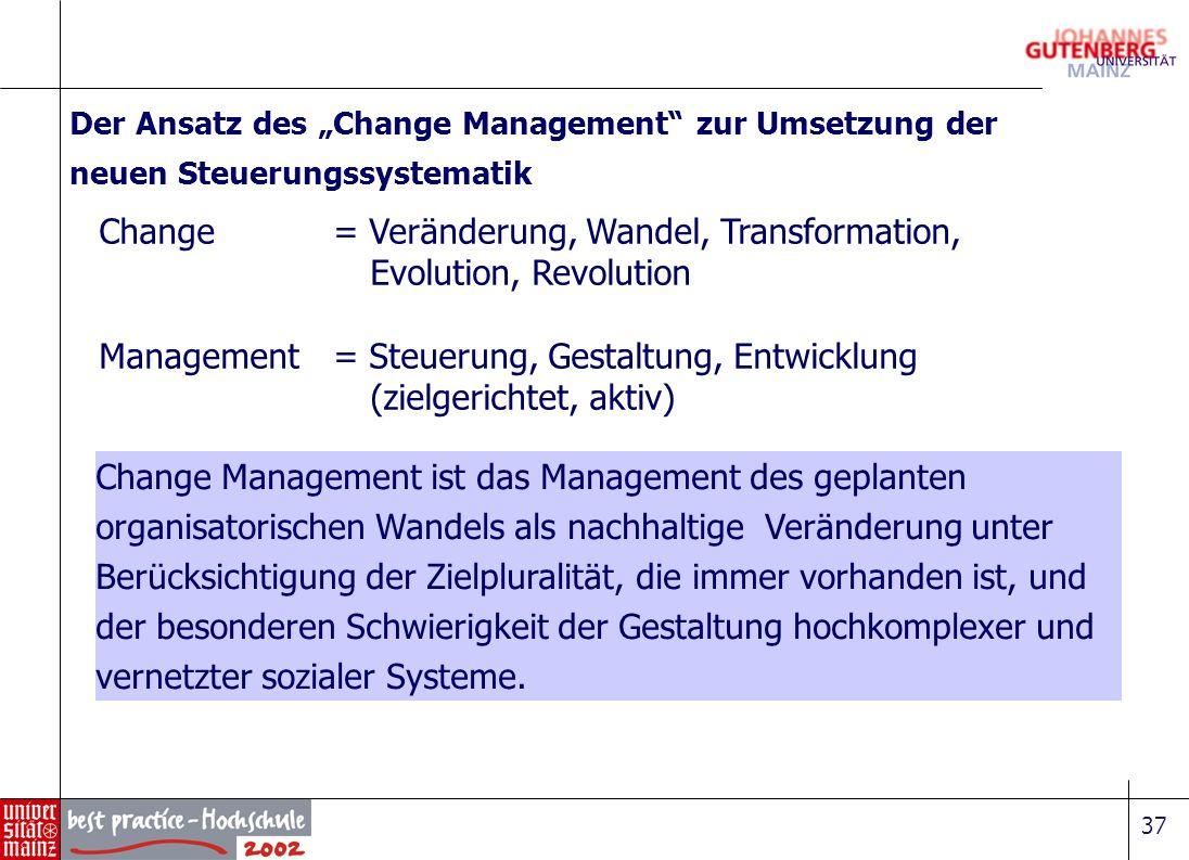 37 Change = Veränderung, Wandel, Transformation, Evolution, Revolution Management = Steuerung, Gestaltung, Entwicklung (zielgerichtet, aktiv) Der Ansa