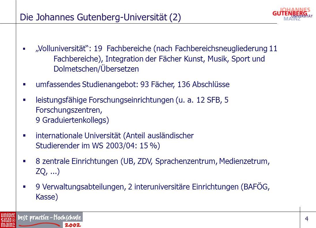 4 Volluniversität: 19 Fachbereiche (nach Fachbereichsneugliederung 11 Fachbereiche), Integration der Fächer Kunst, Musik, Sport und Dolmetschen/Überse