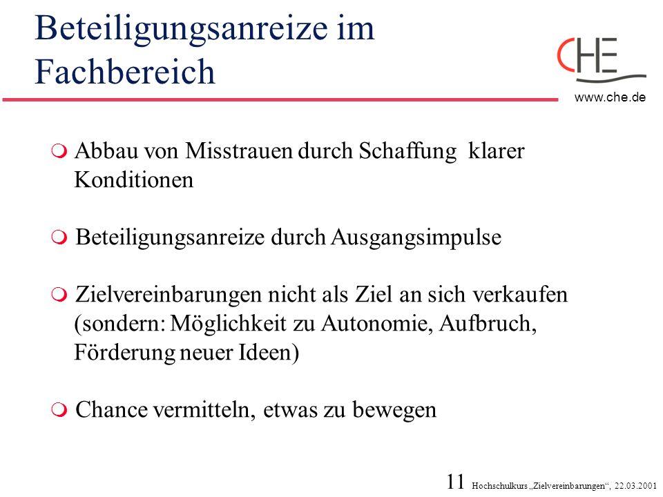 11 Hochschulkurs Zielvereinbarungen, 22.03.2001 www.che.de Beteiligungsanreize im Fachbereich Abbau von Misstrauen durch Schaffung klarer Konditionen